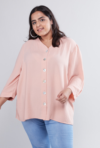 Solid Shirt with V-neck and 3/4 Sleeves