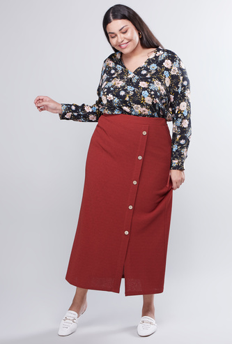 Textured Midi Skirt with Button Detail
