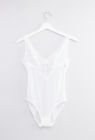 Lace Detail Mesh Babydoll with Hook and Eye Closure