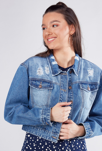 Distressed Denim Jacket with Long Sleeves and Button Closure
