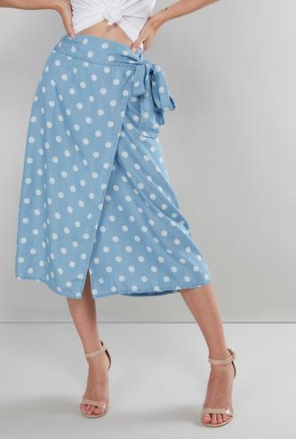 Polka Dot Print Wrap Skirt