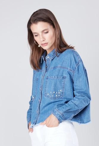Embellished Collared Denim Shirt with Long Sleeves and Frayed Hem