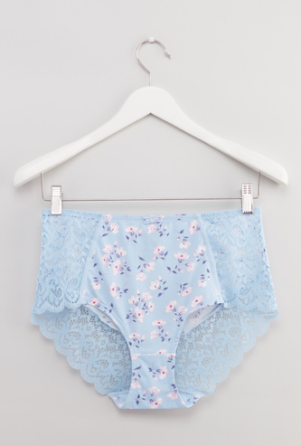 Floral Printed Full Briefs with Lace Detail and Elasticised Waistband
