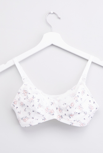 Floral Print Non Padded Bra with Adjustable Straps