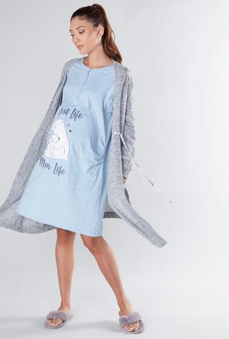 Printed Maternity Sleep Dress with Textured Robe