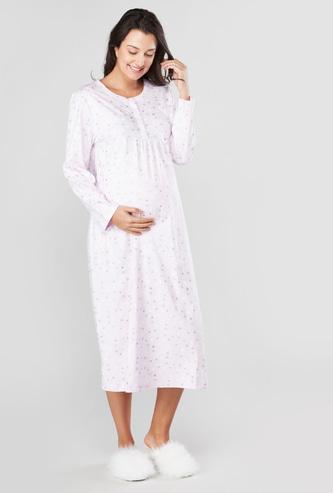 فستان نوم متوسط الطول للحوامل بطبعات وأكمام طويلة