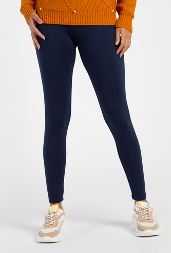Full Length Solid Mid Rise Leggings with Elasticated Waistband