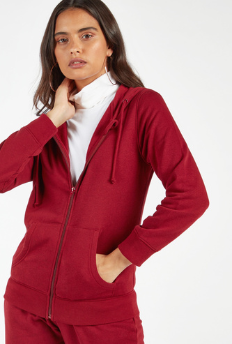 Solid Hooded Jacket with Long Sleeves and Pocket Detail