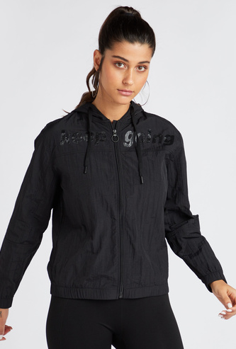 Printed Hooded Neck Jacket with Long Sleeves and Zip Closure