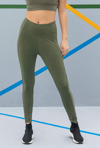 Slim Fit Full Length Solid Pannelled Leggings with Elasticised Waist