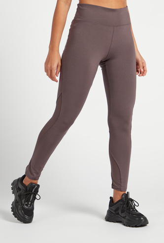 Slim Fit Solid Leggings with Perforated Mesh Detail