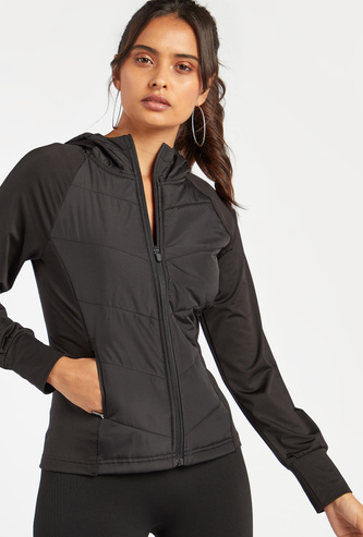 Slim Fit Solid Quilted Jacket with Long Sleeves and Hood