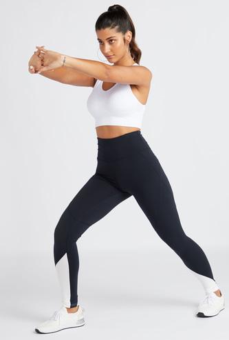 Colour Block Leggings with Elasticated Hem