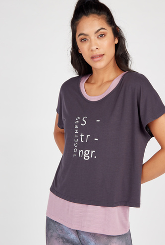 Printed Layered T-shirt with Round Neck and Short Sleeves