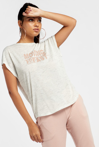 Text Print Marl T-shirt with Round Neck and Short Sleeves