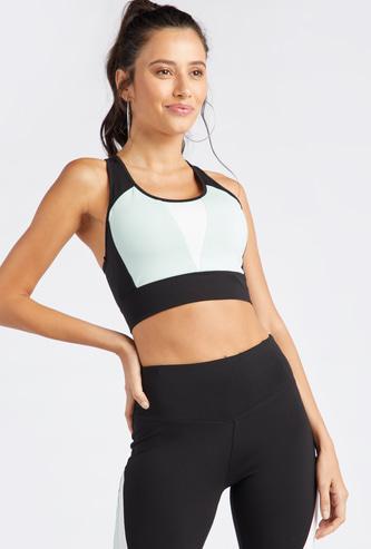 صدرية رياضية كتل ألوان سادة بدعم متوسط وياقة مستديرة