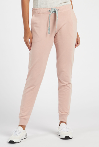 Solid Full Length Joggers with Pockets and Drawstring Closure