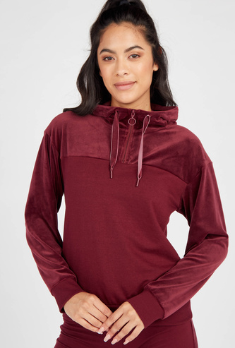 Solid Panelled and Half-Zippered Hoodie with Drawstring Closure