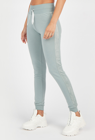 Solid Mid-Rise Joggers with Drawstring Tie Up and Cuffed Hem