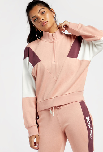 Colour Block High Neck Jacket with Zip Closure