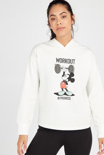 Mickey Print Hoodie with Long Sleeves