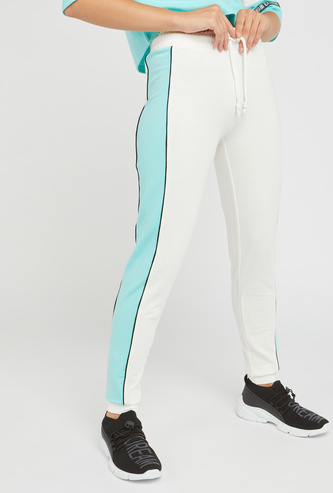 Colour Block Jog Pants with Drawstring