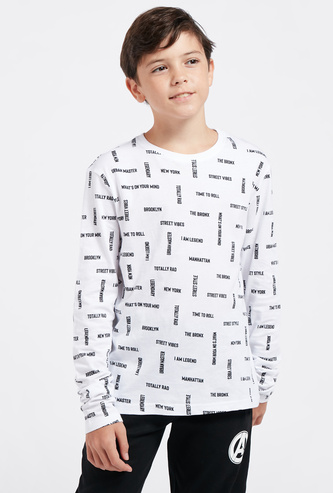All-Over Text Print T-shirt with Round Neck and Long Sleeves