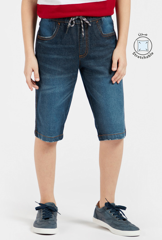 Solid Denim Shorts with Pockets and Drawstring