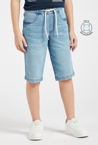 Solid Denim Shorts with Pocket Detail and Drawstring Closure