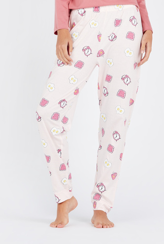 Full Length Graphic Print Pyjamas with Elasticated Waistband