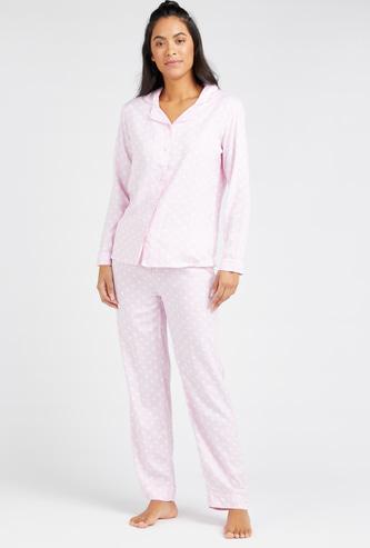 Polka Dot Print Long Sleeves Shirt and Full Length Pyjama Set