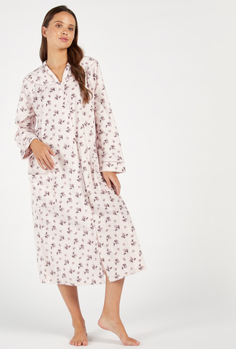 Cozy Collection Printed V-neck Sleep Gown with Patch Pockets