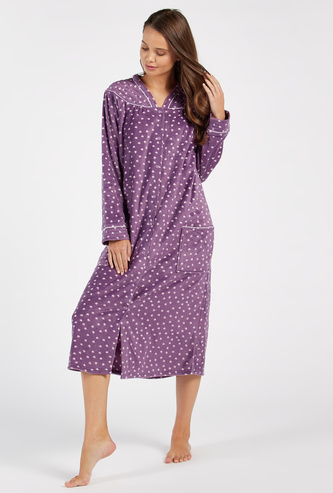 Cozy Collection Heart Print V-neck Sleep Gown with Patch Pockets