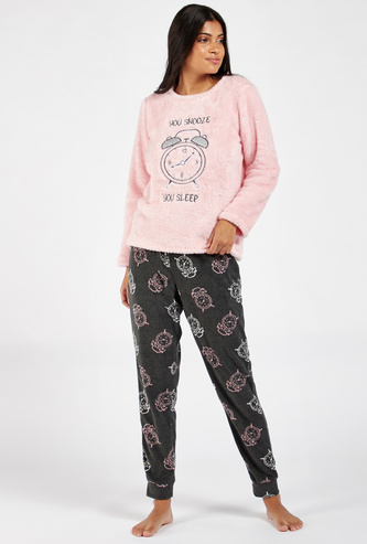 Textured Long Sleeves T-shirt and All-Over Print Pyjama Set