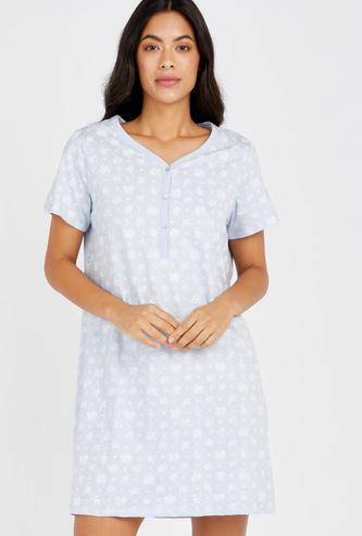 Floral Print Sleepdress with Short Sleeves