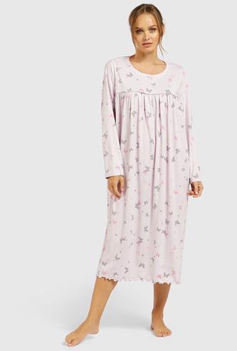 ثوب نوم بياقة مستديرة وأكمام طويلة وطبعات