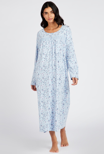 Floral Print Sleep Gown with Round Neck and Long Sleeves