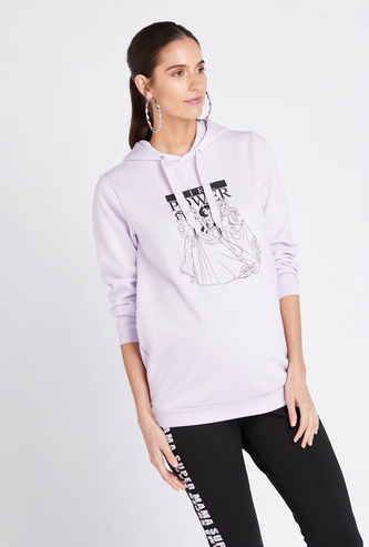 Typographic Print Maternity Hoodie with Long Sleeves