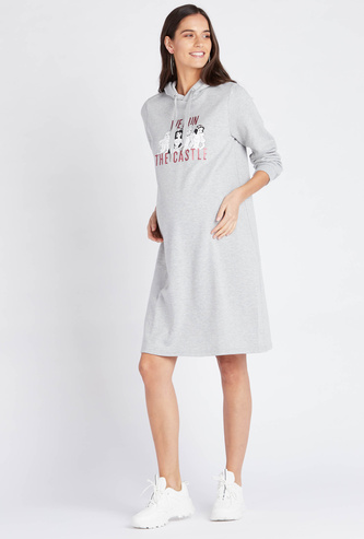 Printed Maternity Dress with Hood and Long Sleeves