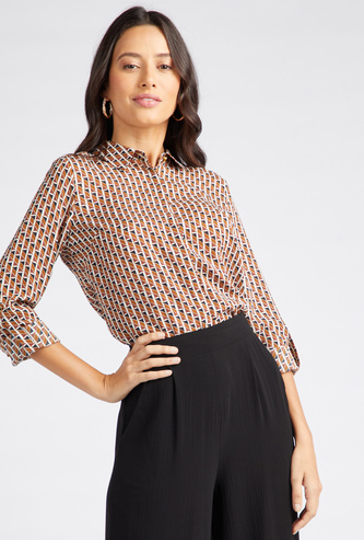 Printed Collared Neck Shirt with Long Sleeves