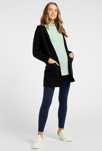 Solid Hooded Maternity Cardigan with Long Sleeves