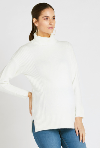 Maternity Textured Sweater with High Neck and Long Sleeves