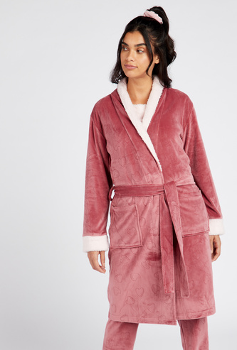Textured Wrap-Collared Robe with Front Tie-Up