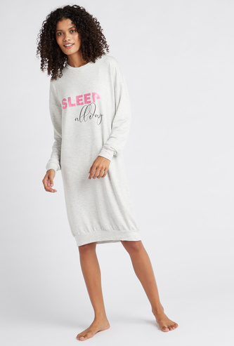 Cozy Collection Printed Round Neck Sleepshirt with Long Sleeves