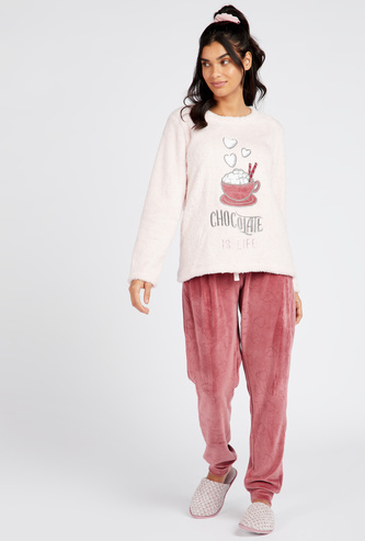 Printed Round Neck Top and Full Length Pyjama Set