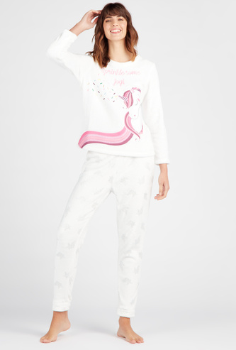 Cozy Collection Unicorn Round Neck T-shirt with Full Length Pyjama