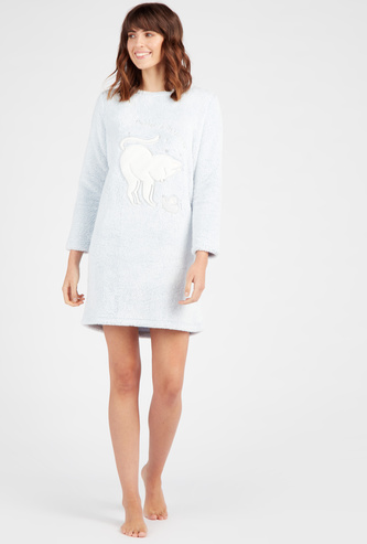 Cozy Collection Plush Round Neck Sleepshirt with Long Sleeves