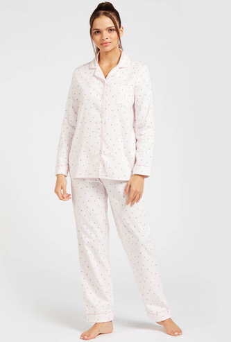 Printed Collared Shirt and Full-Length Pyjama Set
