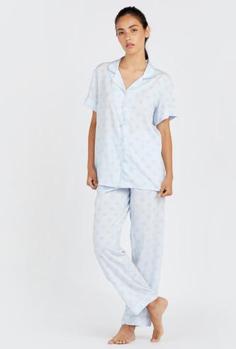 Polka Dot Print Short Sleeves Shirt and Full Length Pyjama Set