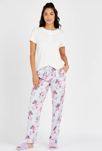 Solid Round Neck T-shirt with Floral Print Full Length Pyjama Set